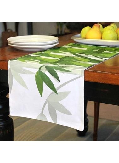 Artikel Yeşil Çiçekler -2 Runner Masa Örtüsü 43,5x141,5cm Renkli